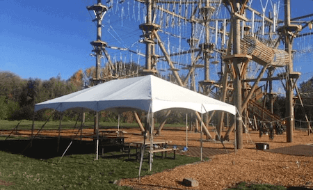 Large tent covered area for picnic barbeque shade